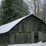 """Barn During Snow Storm"" by Finecrafted"