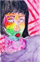 colorful face drawing