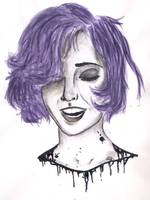 purple haired smiling drawing