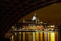 Under the bridge shot of st pauls cathedral night