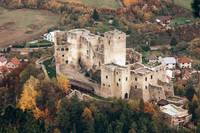Strečno Castle Aerial autumn photo, Slovakia