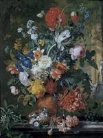 Flowers in a terracotta vase on a marble ledge,  b