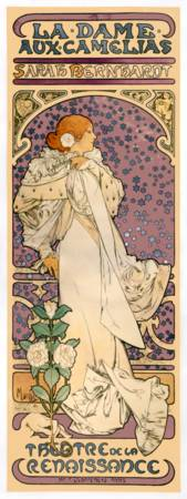Vintage French Art Nouveau Lady of the Camelias
