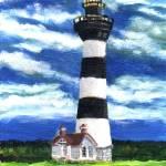 """""""Lighthouse and Striped Sky"""" by kyaudeart"""