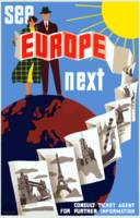 Vintage Airline Europe Travel and Globe