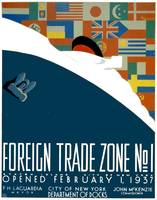 Vintage Foreign Trade Zone Ocean Liner Flags