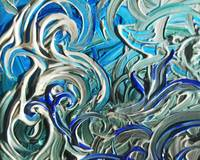 Blue Brush Strokes Organic Abstract Painting