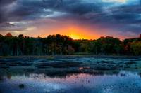 Colorful Sunset over Ipswich river