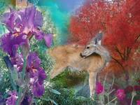 Deer, Red Tree, Flowers