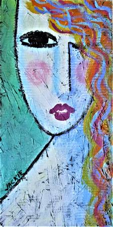 Colorful Abstract Portrait on Wood