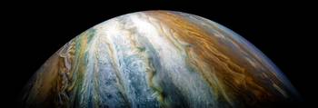 Close up of Planet Jupiter from Juno flyby (2017)