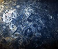 Swirling Blue Clouds of Planet Jupiter from Juno C