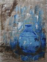 Blue Pottery Vase Painting