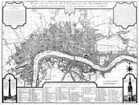 Vintage Map of London England (1727) BW