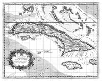 Vintage Map of Cuba and Jamaica (1763) BW