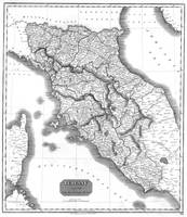 Vintage Map of Tuscany Italy (1814) BW