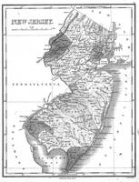 Vintage Map of New Jersey (1827) BW