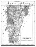 Vintage Map of Vermont (1827) BW