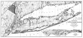 Vintage Map of Long Island New York (1842) BW