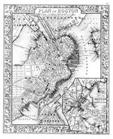 Vintage Map of Downtown Boston (1864) BW