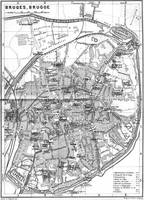 Vintage Map of Bruges (1905) BW