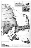 Vintage Map of Cape Cod (1885) BW
