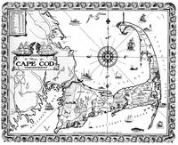 Vintage Map of Cape Cod BW