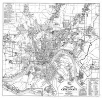 Vintage Map of Cincinnati Ohio (1915) BW