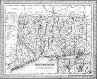 Vintage Map of Connecticut (1846) BW