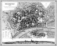 Vintage Map of Frankfurt Germany (1845) BW