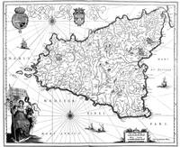 Vintage Map of Sicily Italy (1600s) BW