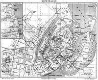 Vintage Map of Copenhagen Denmark (1888) BW