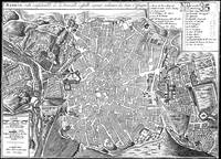 Vintage Map of Madrid Spain (1702) BW