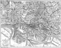 Vintage Map of Hamburg Germany (1910) 2 BW