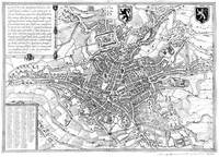 Vintage Map of Ghent Belgium (1650) BW