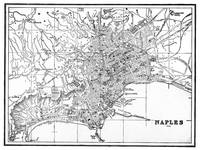 Vintage Map of Naples Italy (1901) BW