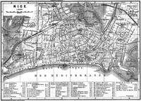 Vintage Map of Nice France (1914) BW