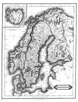 Vintage Map of Norway and Sweden (1831) BW