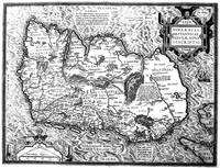 Vintage Map of Ireland (1592) BW