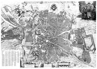 Vintage Map of Madrid Spain (1656) BW