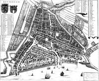 Vintage Map of Rotterdam Netherlands (1649) 2 BW