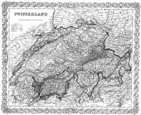 Vintage Map of Switzerland (1856) BW