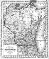 Vintage Map of Wisconsin (1859) BW