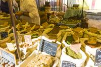 Collioure Sunday market soap and herb stall
