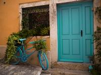 Teal Bicycle and Door in Rovinj