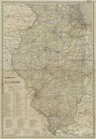 Vintage Map of Illinois Railroads (1910)