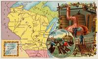 Vintage Map of Wisconsin with Illustrations (1890)