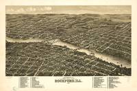 Bird's eye view of the city of Rockford, Illinois