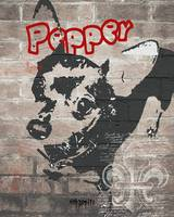 Pepper - POP Dark Brick Background Graffiti and Fl