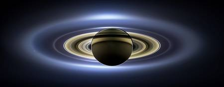 The Planet Saturn passing in front of the Sun